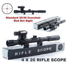 NEW 4x20 Air Gun Optics Scope+ Red Laser Sight+ 20mm Mount For 22 Caliber Rifles