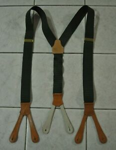 VTG Polo Ralph Lauren Green Elastic Leather Button Hook Connectors Suspenders