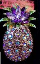 Johnson Charm Brooch Pin Gift Purple Cute Fruit Pineapple Crystal Betsey