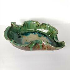 Mid Century Ikebana Vase Leaf Pottery Suiban Bowl Planter Japan Vtg Large 15in