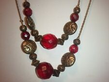 """DABBY REID Red & Antique Gold Color Beads Necklace Very Versatile Length of 64 """""""