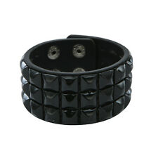 Black Checked Studded Wristband 3 Row Pyramid Stud Cuff Checkered Goth