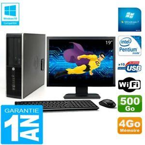 """PC HP Compaq Pro 6200 SFF Ecran 19"""" Intel G840 4Go 500Go Graveur DVD Wifi W7"""