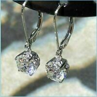 2Ct Brilliant Round Cut Diamond Drop Dangle Women's Earrings 14k White Gold Over