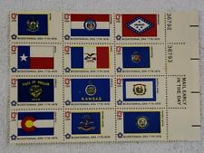 US Plate Block of 12 - 13 Cent Stamps Flags Bicentennial 1976 Mint NH