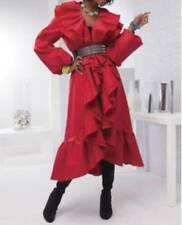 Women's Spring Fall Winter ruffle trench long coat jacket plus XXL fits size 3X
