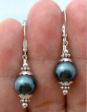12mm Tahitian Black Peacock Sea Shell Pearl Sterling Silver Leverback Earrings
