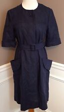 Vera Wang Lavender Label 8 Navy Short Sleeve Button Down Trench Dress