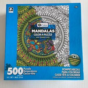 Mandalas Color-A-Puzzle Karmin Adult Coloring Jigsaw Puzzle 500 Pieces Love NEW