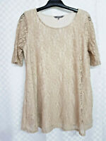 Ladies LAVITTA Lacey Top Size 16 Beige Stretch Floral Lace Swing Short Sleeve