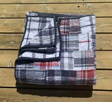 Pottery Barn Kids Madras Plaid Full Quilt Navy Blue Multi-Color Reversible