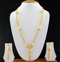 Indian Jewelry Gold Plated Fashion Mala Bridal Bollywood Necklace Earrings Set