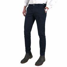 Pantaloni uomo estivi slim fit blu chino tasche america MADE IN ITALY 42 a 54