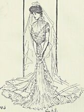 "18""ANTIQUE FRENCH FASHION/GIBSON GIRL LADY DOLL@1901 BRIDE/WEDDING DRESS PATTERN"