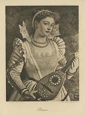 ANTIQUE PRE RAPHAELITE WOMAN PEARLS LUTE LACE BIANCA W. HOLMAN HUNT ART PRINT
