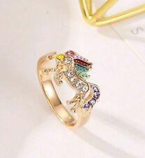 Fashion Ring For Girls Animal Unicorn Rhinestones Gold Color