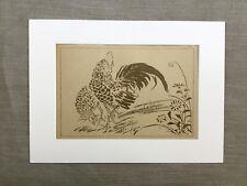 1890 Antique Print Ooka Shunboku Hen Chicken Cockerel Japanese Painting
