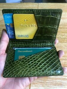 olive green doubleside GENUINE CROCODILE belly Leather Skin cardholder