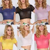 Women Summer Crop Tops Sheer Mesh Transparent Crop T-shirt Short Sleeve Blouse