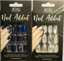 2-PK Ardell NAIL ADDICT Premium Nails, Matte Blue #75891 & Glass Deco #75885 NEW
