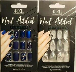 (2) Ardell NAIL ADDICT Premium Nails, Matte Blue #75891 & Glass Deco #75885 NEW!