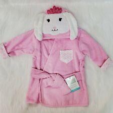 Hudson Baby Pink Bunny Rabbit Princess Bath Robe Terrycloth 0-9 Months NWT  B350