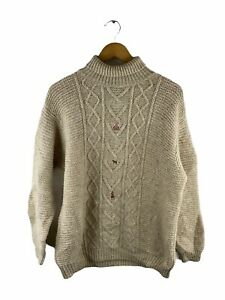 VINTAGE United Colors of Benetton 100% Wool Cable Knit Jumper Size L Brown Logo