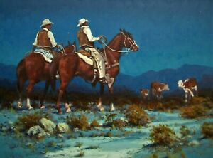 LISTED Harold Lyon Cowboys in Landscape at Night Large Older Oil Painting #2 NR