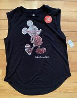 New Disney Parks Magic Mirror Sequined Mickey Mouse Reversible Tee T-Shirt Top M