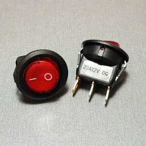 Red Illuminated SPST Round Rocker Switch 20A 12V 2PCS