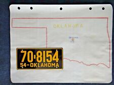 Vintage 1950's Wheaties Cereal 1954 Oklahoma License Plate