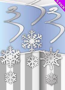 Hanging Silver Snowflake Swirls Christmas Frozen Swirls Party Decoration Tinsel