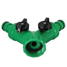 Y shaped Screw Hose Pipe Splitter 2 way Connector Adaptor Turn Off Plastic Tube