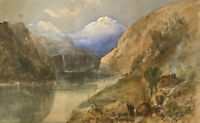 E.W., Mountain View with Lake & Hut, Horrà – Original 1891 watercolour painting