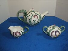 Fitz and Floyd Iris Teapot, Creamer, and Sugar 1990