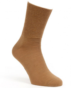 Womens Warm Wide Soft Cuff Camel Wool Socks