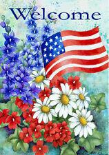 Garden Flag, Patriotic Welcome, Flowers, American Flag, Americana