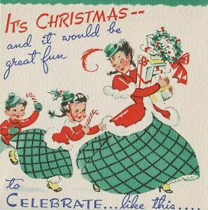 VINTAGE CHRISTMAS POP UP CHRISTMAS GREETING CARD MOTHER & CHILDREN UNUSED