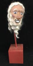Antique Folk Art Paper Mache Papier Puppet Head Hand Made White Hair Beard Stand
