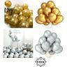 METALLIC LATEX CHROME BALLOONS x 12 Helium Wedding Birthday Party silver gold UK