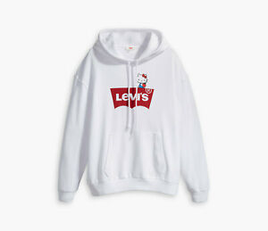 Levi's x Hello Kitty Unbasic Hoodie  Sweatshirt with Sew on Patch 743180042 NWT
