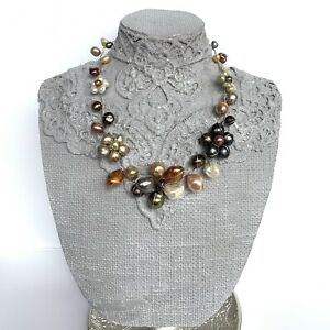 Abra Couture Cluster Flower Necklace Multicolor Pearl Beads Silver Wire