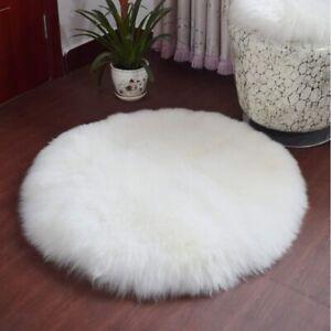 Fluffy Real Sheepskin Fur Rug Floor Carpet Floor Round Mats Circle Seat Cushion