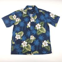 Pacific Legend Made In Hawaii Blue Floral Hawaiian Button Up Shirt Men's Large