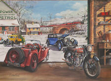 Singer Le Mans Bentley Vincent HRD 1930s 1940s Car Motorbike Christmas Xmas Card