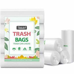 Strong Trash Bags Garbage Bags, Bathroom Trash Can Bin Liners, 4 Gallon Clear