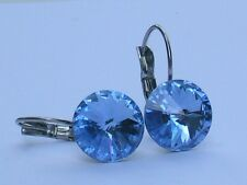 Light Sapphire Surgical Steel Leverback Earrings with Swarovski Crystal Elements