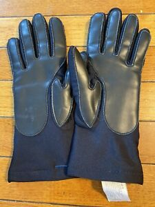 Vtg Leather Womens Ladies Black THINSULATE lined Driving Gloves Rubber grip Sz S