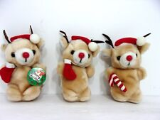 VTG 1985 (3) Jerry Elsner Reindeer Bears Plush Christmas Ornaments Stuffed Toy