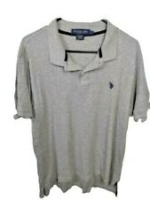 US Polo Assn Men's Size L Large Luxury Feel Shirt Polo Short Sleeved Gray Grey A